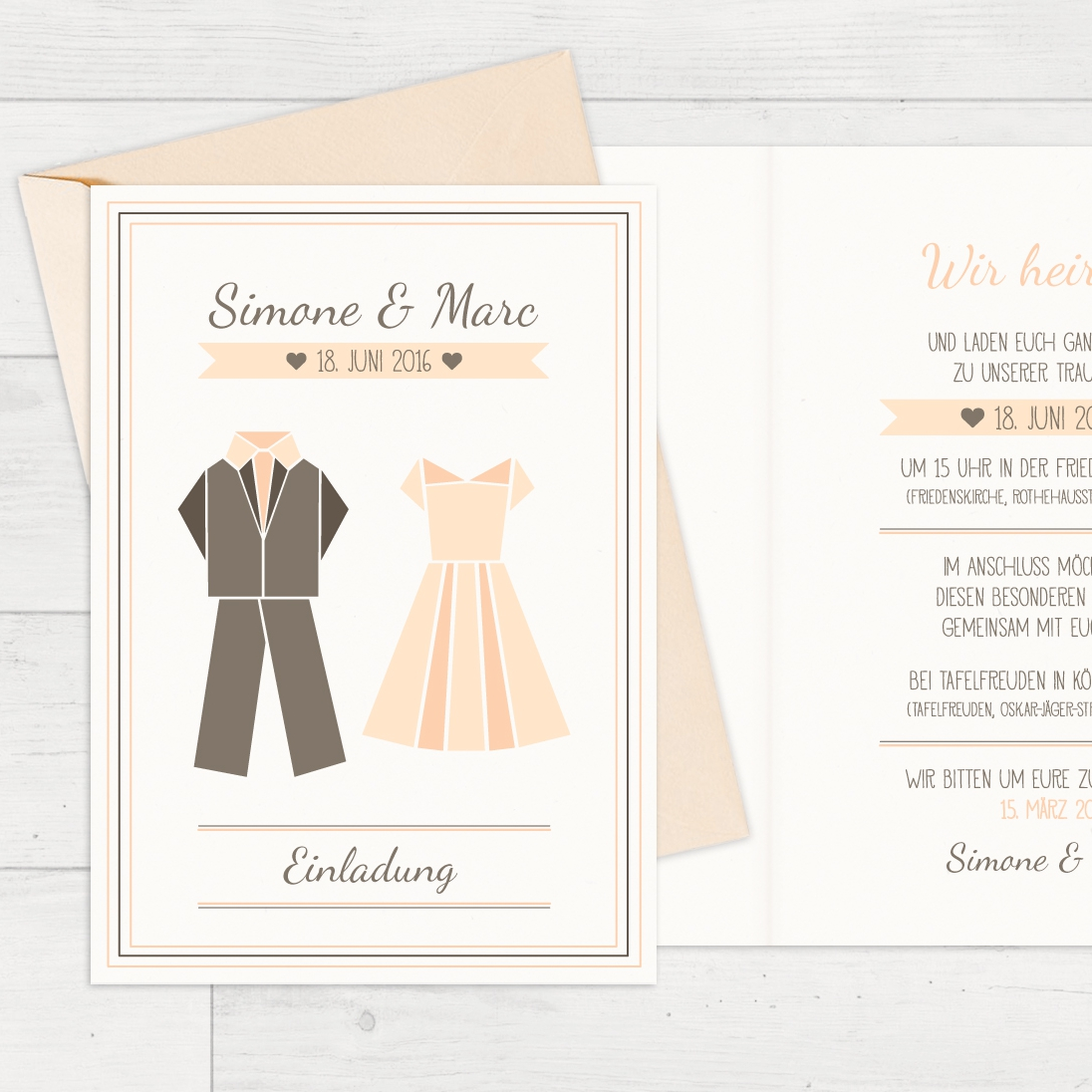 Hochzeitseinladung – Origami