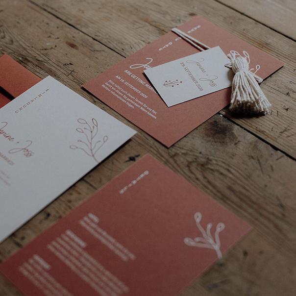Hochzeitspapeterie – Terracotta-Boho